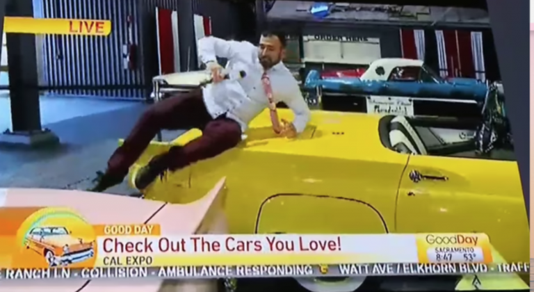 A reporter was fired after he sat on classic cars and dinged doors.