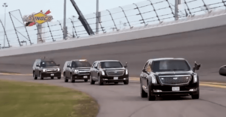 """Trump loops the track in his limo named """"The Beast"""" to start the Daytona 500"""