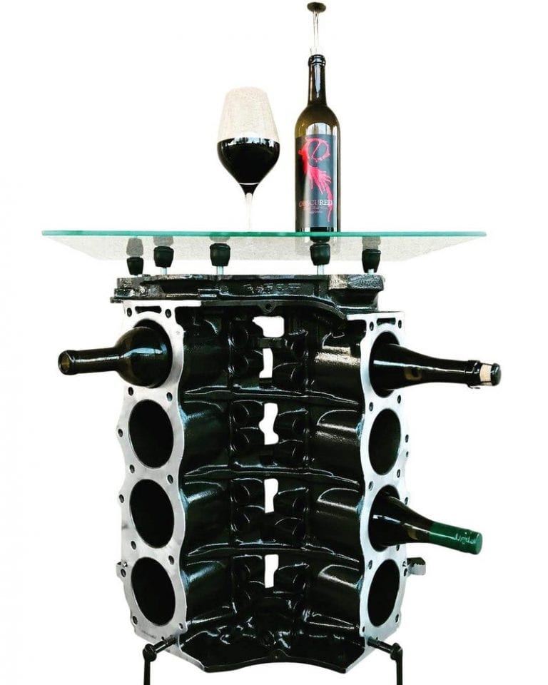 Check out this engine block wine rack