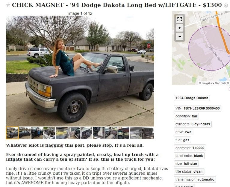 Guy makes a clever post to sell his Dodge Dakota on Craigslist