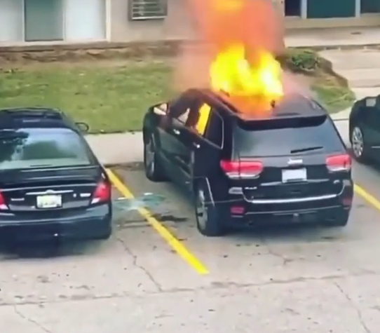 Woman sets ex-boyfriend's car on fire. Results are explosive
