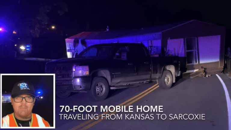 Guy tries to tow a mobile home with a pickup truck