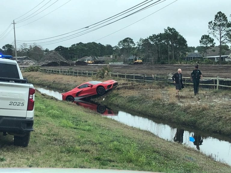In Florida a Corvette C8 owner crashed his car into a ditch