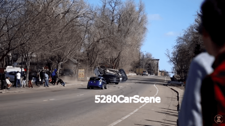 Dodge Challenger Hellcat crashes into a pickup leaving a cars and coffee