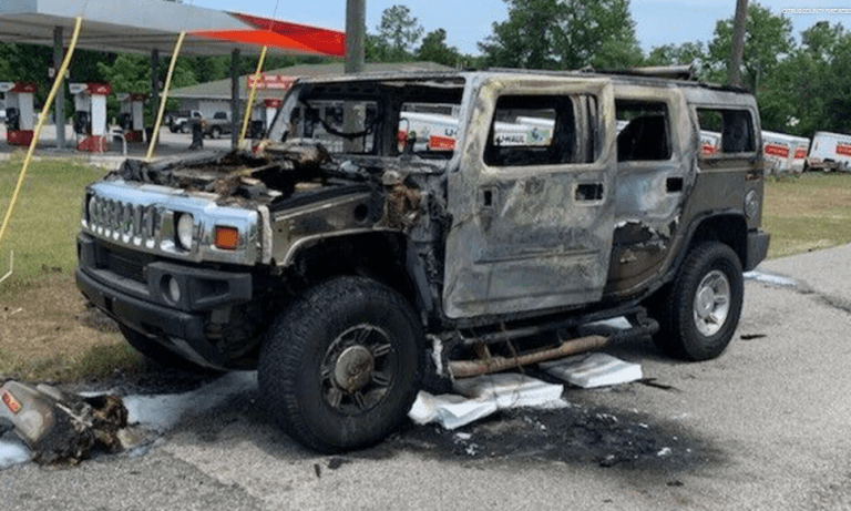 A Hummer burst into flames after the owner was stockpiling fuel