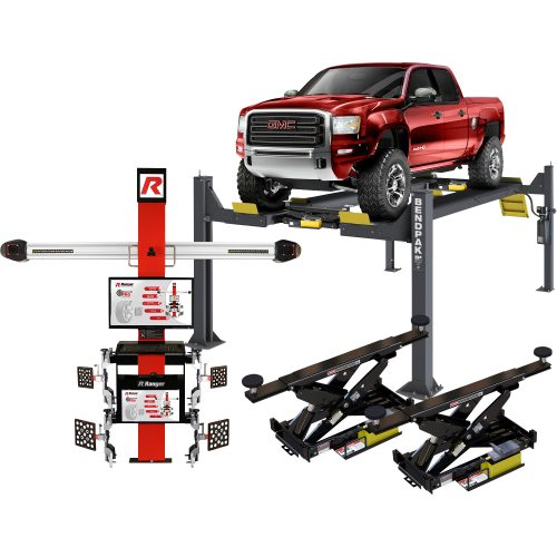 BendPak Aligner Combo Kit — 14,000-Lb. Capacity, Open-Front Extended Alignment Lift with Turnplates and Slip Plates, Model# 5175893