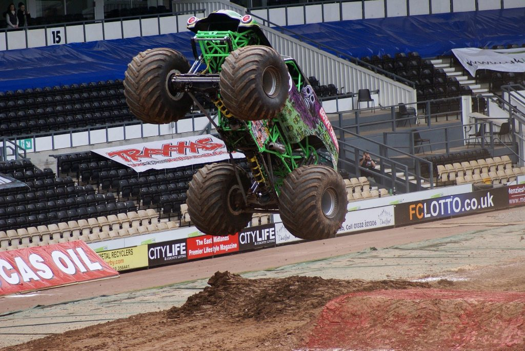 monster truck jumping in air