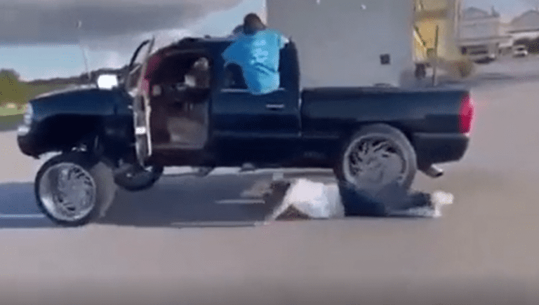 A guy filming his squatted truck runs himself over
